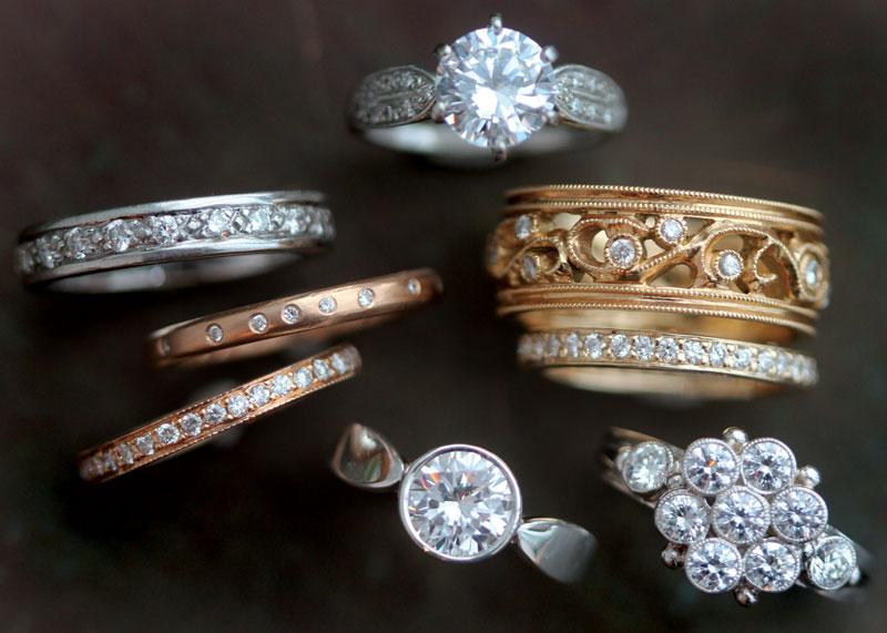 Diamond Platinum Gold Engagement Wedding Bands