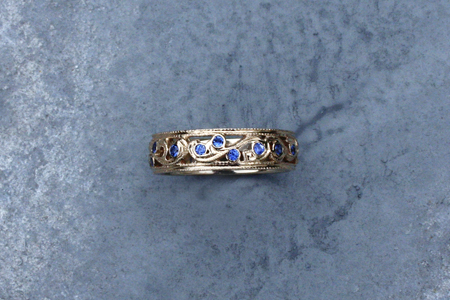Blue Sapphire and Yellow Gold Custom Vine Engagement Wedding Band by Liloveve