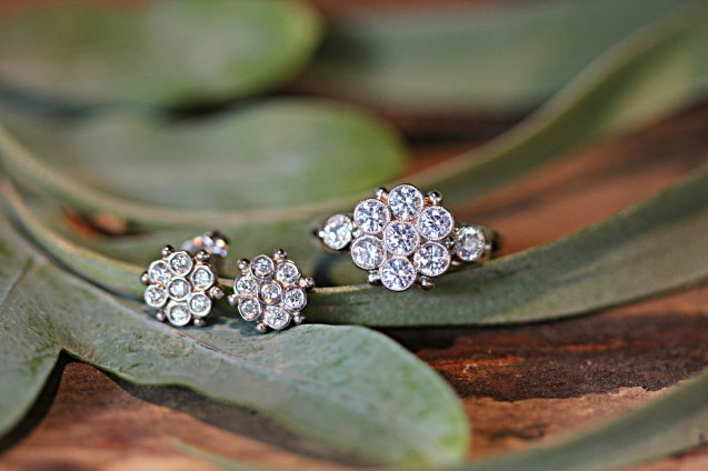 Honeycomb Flower Engagement Ring and Matching Bridal Earring Set.
