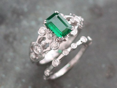 Gorgeous Custom Emerald and Diamond Platinum Engagement and Wedding Band Set by Liloveve Jewelry