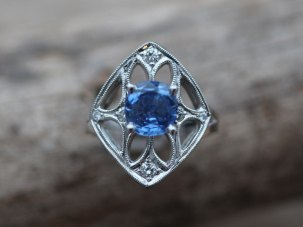 Custom Sapphire and Diamond Platinum Engagement Ring with Antique Detailing