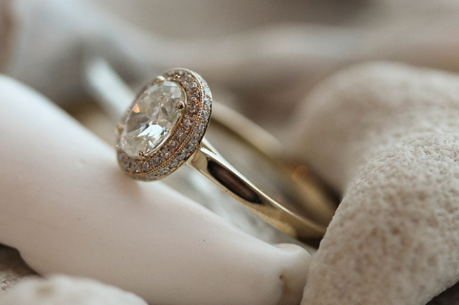 Oval Diamond Halo with cascading tiny diamonds