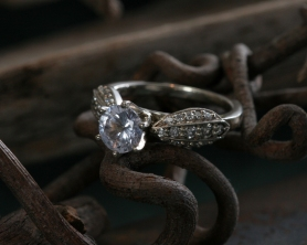 Antique Wing ring with pave diamonds, beadwork and 6 prong setting for center stone