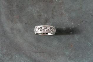 Hand Cut 18 Karat White Gold Vine Band with Milgrain Edge Detail and Multiple Diamonds