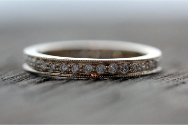 White gold Eternity band with milgrain detail