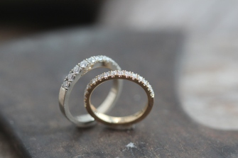 Eternity style pave wedding bands
