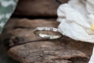 baguette diamond wedding band with antique beadwork detailing.