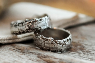 Wedding bands cast from a piece of tree bark.