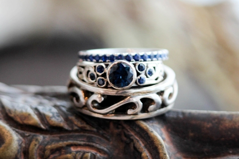 gothic era inspired set with blue sapphires