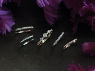 A selection of our small diamond wedding band styles.