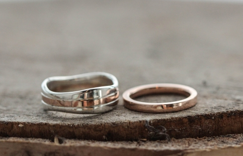 Squared edge rose gold band with two tone rose gold and sterling silver wide wavy band