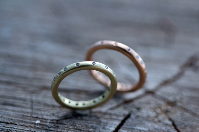 Gypsy set wedding bands in yellow and rose gold