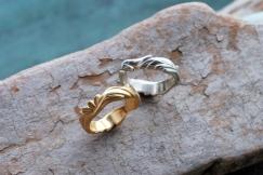 Hand sculpted wedding bands