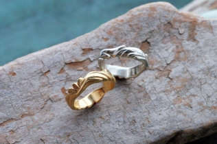 Hand sculpted wedding bands