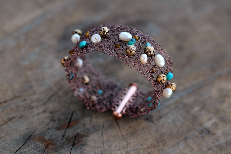 Antique Copper Wire Crocheted Bracelet Wire, Turquoise, Pearls, Brass Beads 2013