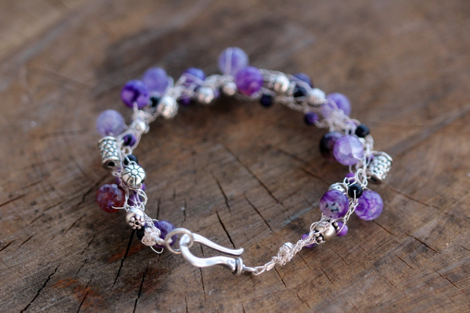 Silver and Purpless Crocheted Bracelet Silver Wire, Silver Beads, Amethyst and Agate Beads 2013