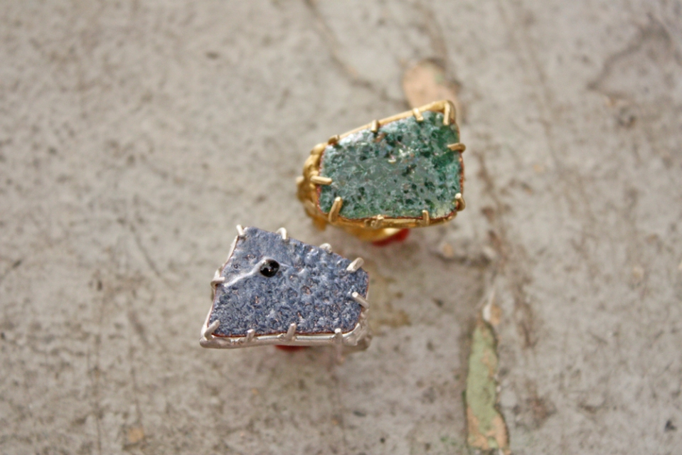 orange peel enameled rings by artists Emilie Shapiro, instructor