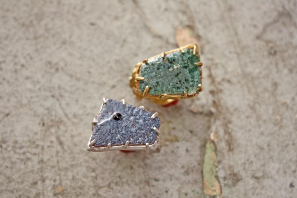 orange peel enameled rings by artists Emilie Shapiro, instructor