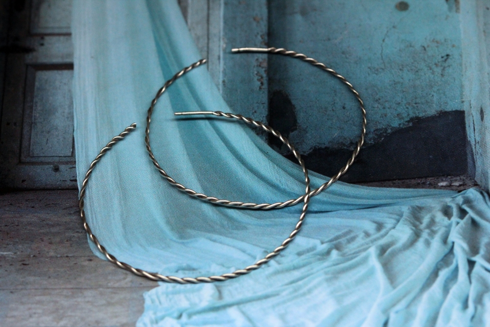 Sterling Silver twisted wire hoops