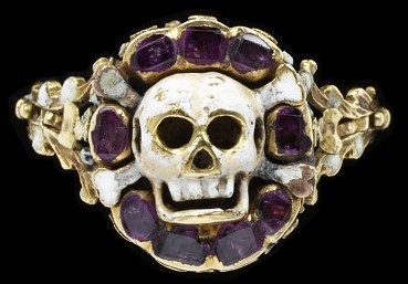 A sixteenth-century skull-and-crossbones ring. (Victoria & Albert Museum)