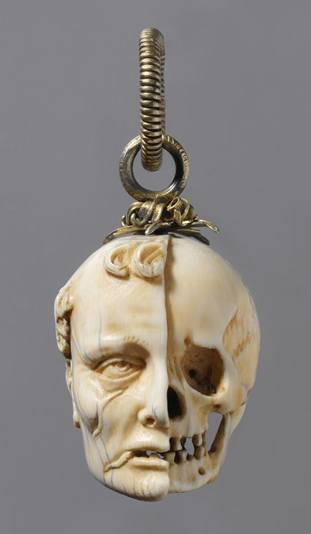 Rosary bead, c. 1500-1525 'Each bead represents the bust of a burgher or maiden on one side, and a skeleton on the other. The terminals show the head of a deceased man, with half the image eaten away from decay.' - Metropolitan Museum of Art