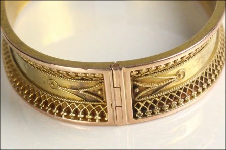 Ancient Etruscan Bangle with pin hinge.